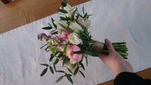 Ditsy Floral Rustic Hand Tie Locally Grown Eucalyptus