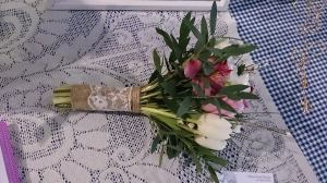 Ditsy Floral Rustic hand tied bouquet tulips roses eucalytus
