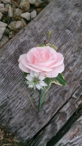 Country Garden Rose & Nigella Buttonhole