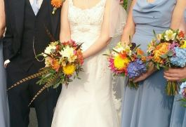 Autumn #game themed bouquets with #pheasant feathers