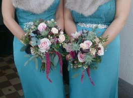 Rich teal and raspberry #bridesmaid bouquets